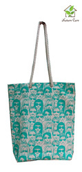 Canvas Tote Bag With One Colored Face Print