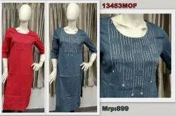 13453 South Cotton Handloom Kurta With Embroidery