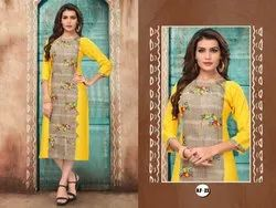 A-Line 3/4th Sleeve Straight Kurti