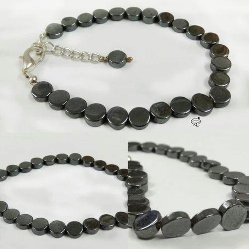 Hematite Gunmetal Coin Shape Smooth Beads Bracelet