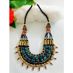 Golden And Blue Ladies Handmade Necklace Set