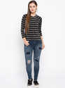 Blue Skinny Fit Ankle Length Mid-Rise Patch Distressed Stretchable Jeans
