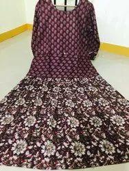 3/4th Sleeve Party Wear Printed Cotton Kurti, Size: S-XXL