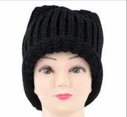 82d256ab4d709 Black Designer Embellished Knitted Woolen Skull Cap For Women