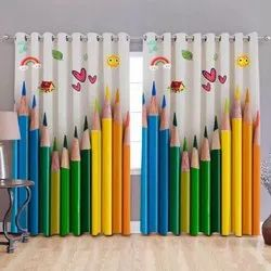 Multicolor Polyester Eyelet Window Curtains 4*5