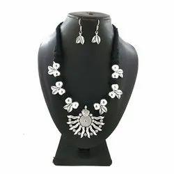 Oxidized Black Seven Pendent Leaf Necklace Set
