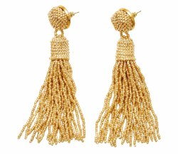 Golden Beaded Tassels Earrings
