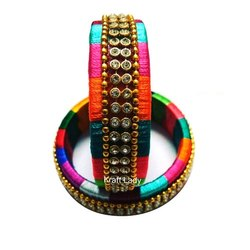 Party Wear Silk Thread Bangle, Round