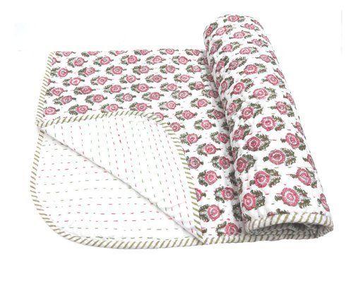 Indian Hand Block Print Baby Quilt बच च क रज ई