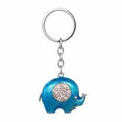 Blue Enameled Elephant Crystal Silver Keychain