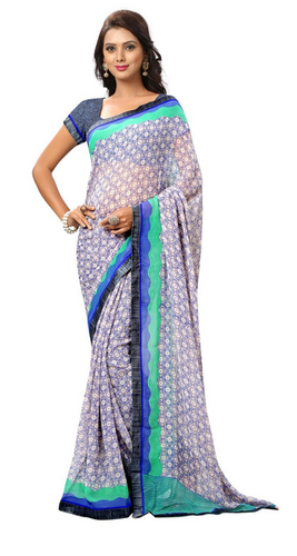 d6884beb18b63b Blue Colour Faux Georgette Casual Wear Printed Saree at Rs 983 ...