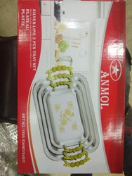 Anmol Metal Serving Tray Set With Golden Handles, Size: Set of 3 , Packaging Type: Box