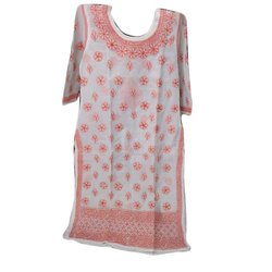 Cotton Casual Wear Chikan Embroidered Kurti, Size: 38-44