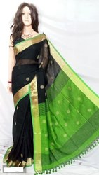 6.3 m (with blouse piece) Wedding Ladies Green And Black Handloom Linen Saree