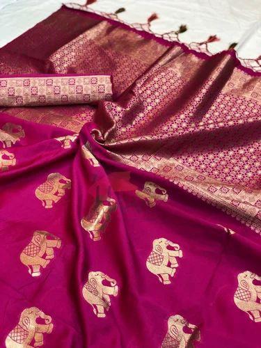 a089a910b4038 Banarasi Silk Saree With Blouse Piece