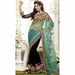 Half Net, Half Georgette Party Wear Designer Fancy Saree, With Blouse Piece, 5.5 m