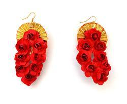 Red Flower Gota Patti Earrings For Women & Girls
