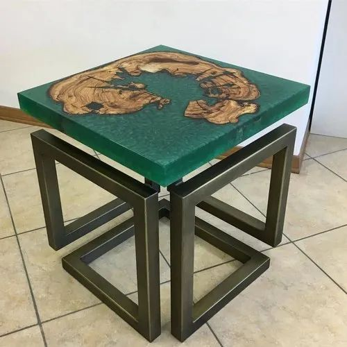 Golden Ratios Wood Green Resin Wooden Coffee Table Rs 3000