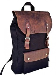 16 Leather Laptop Casual Canvas Campus School Rucksack Black Backpack Bag