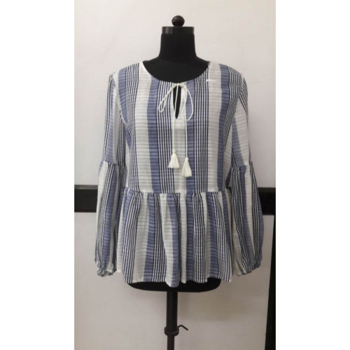 Cotton Stripped Yarn Dyed Blouse