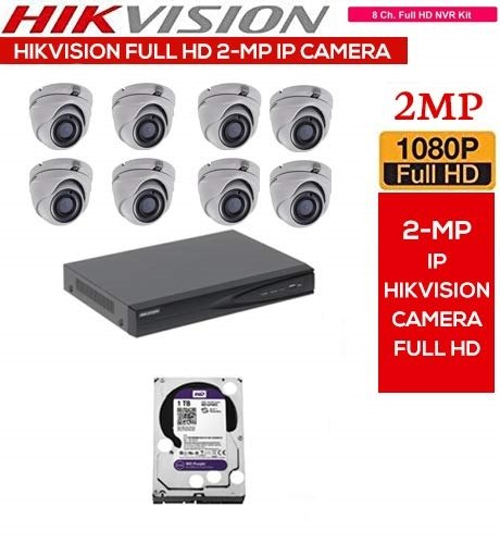 Feecom Hikvision Full Hd 8 Ch Nvr With 2 Mp 1080p Full Hd Ip Camera 8 Pc  Dome Set