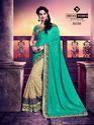 Indian Women Cyan And Beige Silk And Rassel Net Saree