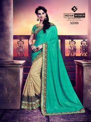 Indian Women Cyan And Beige Silk And Rassel Net Saree