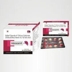 Softgel Capsules Of Calcium Carbonate, Cholecalciferoi, Vitamin K27 & Folic Acid