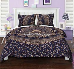 Blue Gold Floral Mandala Duvet Quilt Cover
