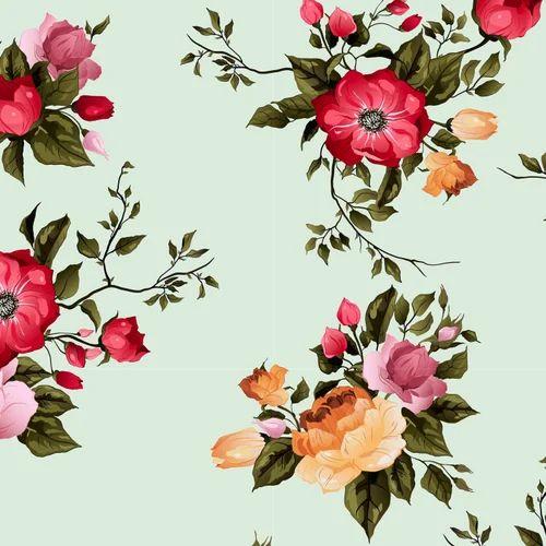 Georgette Digital Printed Floral Design Fabric For