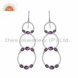 Amethyst Gemstone 925 Sterling Fine Silver Circle Dangle Earrings
