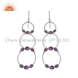 Beautiful Amethyst Gemstone 925 Sterling Fine Silver Dangle Earrings Jewlery