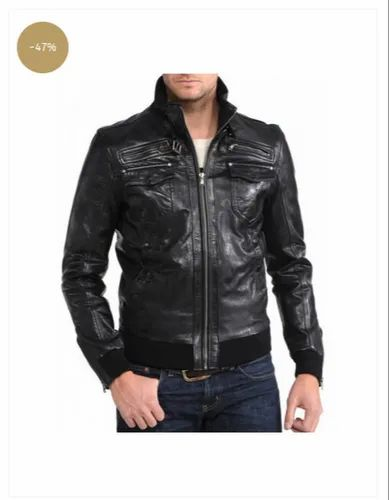 938465b3 Black Full Sleeve Mens Slim Fit Leather Bomber Jacket, Rs 7999 ...
