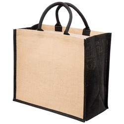 Black And Natural Jute Shopping Bag