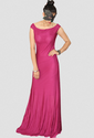 Off Shoulder Red Wine Rayon Jersey Gown (Padded)
