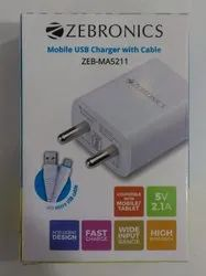 1m Travel Zebronics Mobile Charger MA5211 White colour