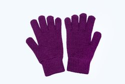 Dark Purple Plain Woolen Gloves