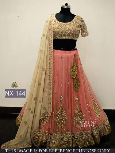 6040e118e4 Peach & Golden Designer Heavy Look Lehenga Choli - Colour Trendz ...