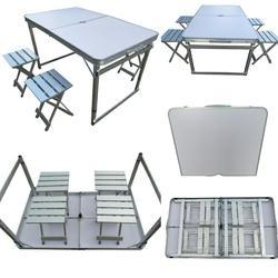 Folding Picnic Table-120-Separate Chairs-White
