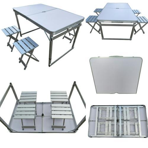 Folding Picnic Table 120 Separate Chairs White