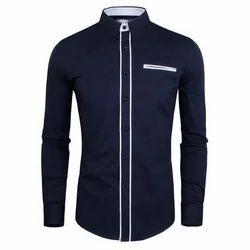 Small Collar Neck Mens Designer Cotton Shirt