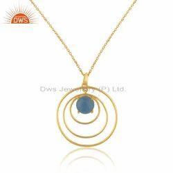 Handmade Gold Plated Designer Silver Blue Chalcedony Chain Pendant