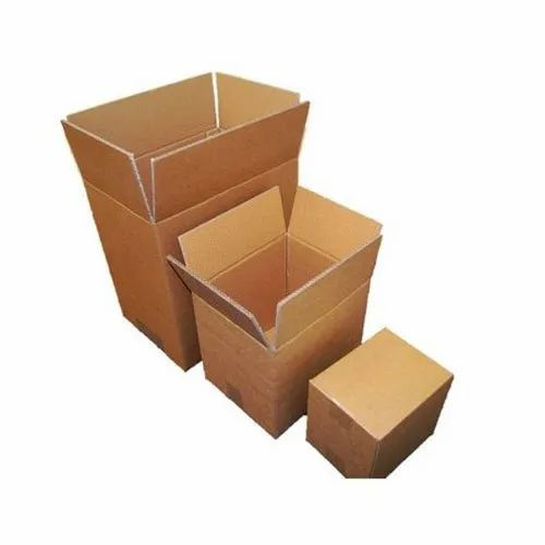 Brown Rectangle Corrugated Plain Packaging Box