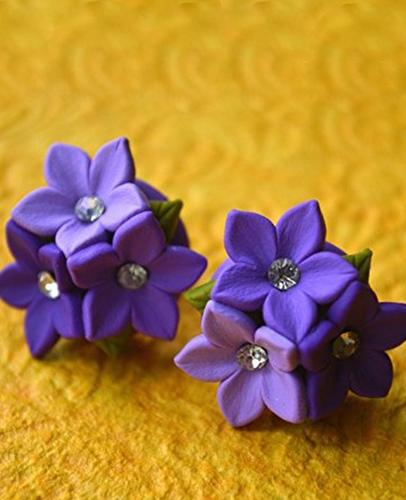Zeitx Purple Polymer Clay Stud Earrings For Women