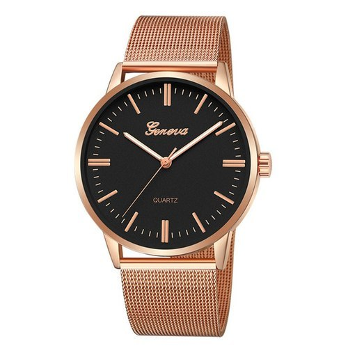 Geneva Mens Exclusive Mesh Rose Gold Strap Analog Watch