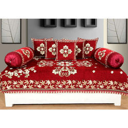Creative Home Red Chenille Diwan Set