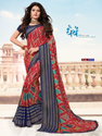Printed Brasso Chiffon Saree with Jacquard Blouse -Bharat