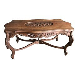 Brown Carved Wooden Coffee Table