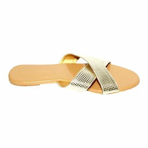 93965a224 Beige And Golden Women Designer Flat Sandals, Rs 550 /pair | ID ...