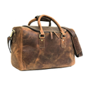 Multi Functional Genuine Buffalo Leather Mini Travel Duffle Bag With Interior Laptop Compartment